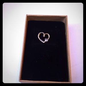 14k yellow and white gold heart pendant